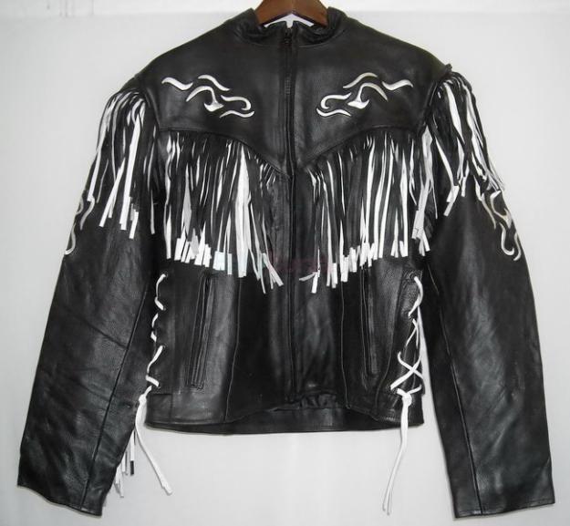 5c9b06ec5c8 Prodám Kožená dámská bunda křivák na motorku - černobílé třásně - 2 ...
