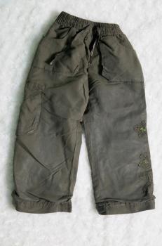tmavězelené oteplené kalhoty
