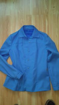 Košilové sako dámské, bleděmodré barvy s podšívkou