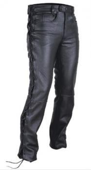 Kožené kalhoty se šněrováním na chopper na motorku