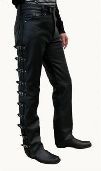 koženémoto kalhoty - zapinaní přezky